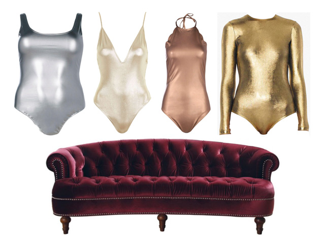 space goddess metallic bodysuits and a red velvet couch