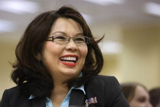 FILE - In this Aug. 13, 2014, file photo, Illinois Democratic U.S. Senate candidate, Rep. Tammy Duckworth, appears in Springfield, Ill. The Chicago Tribune has endorsed Duckworth D-Ill., for U.S. Senate, saying incumbent Republican Mark Kirk can no longer perform the job after a stroke. (AP Photo/Seth Perlman, File)