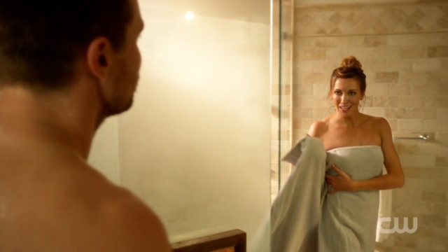 Laurel Lance in a towel