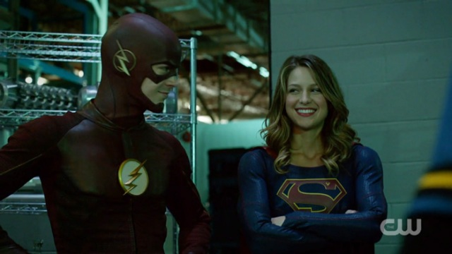 Flash and supergirl smiling