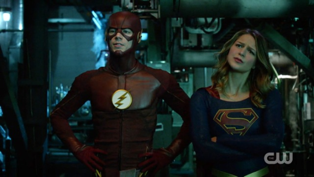 Flash and Supergirl look confused