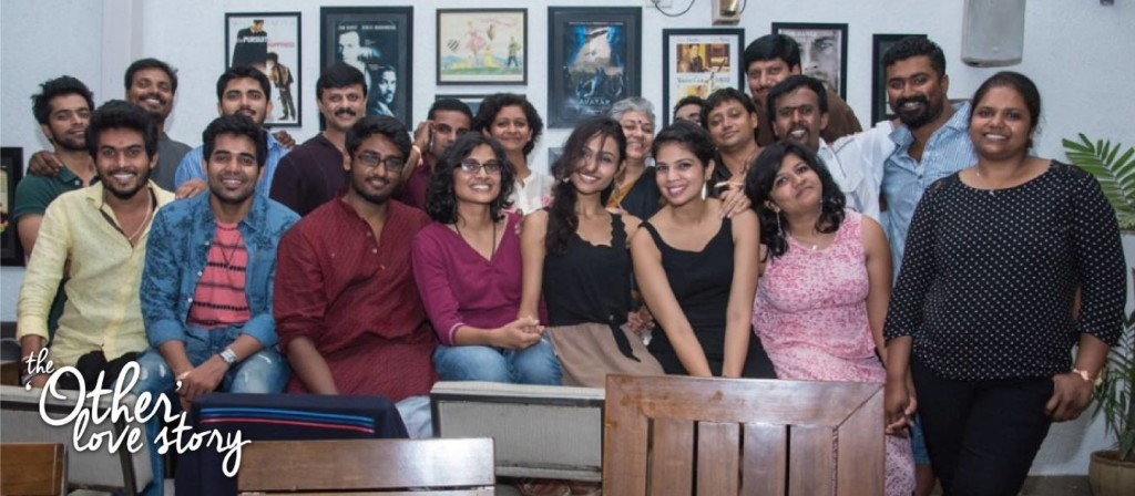 Cast and crew of The Other Love Story, including director Roopa Rao and leads Shweta Gupta and Spoorthi Gumaste (4th, 5th, and 6th from left front row)