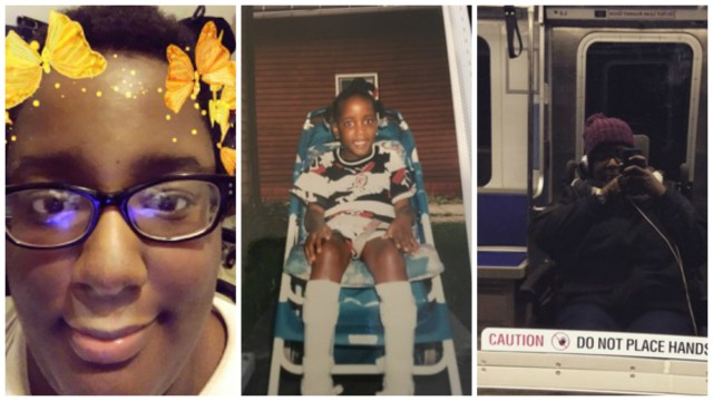 Three photos of Angel Powell, a Black woman in her mid-twenties, side by side. The first shows her looking into the camera with black rimmed glasses, short hair, and yellow/orange animated butterflies around her head from a Snapchat filter. The second photo, to the right of the first, is of Angel as a child, sitting in a blue and white striped lawn chair with knee-high white braces on her legs. The final photo is of Angel in her wheelchair on a subway train; the shot is of her reflection off the subway window. She is wearing a black jacket and purple beanie.