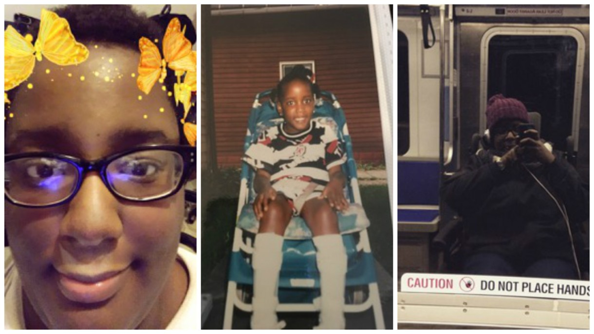 Three photos of Angel Powell, a Black disabled woman in her mid-twenties, side by side. The first shows her looking into the camera with black rimmed glasses, short hair, and yellow/orange animated butterflies around her head from a Snapchat filter. The second photo, to the right of the first, is of Angel as a child, sitting in a blue and white striped lawn chair with knee-high white braces on her legs. The final photo is of Angel in her wheelchair on a subway train; the shot is of her reflection off the subway window. She is wearing a black jacket and purple beanie.