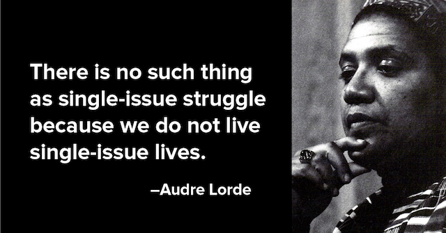 """image of audre lorde with the quote """"there is no such thing as a single issue struggle because we do not live single issue lives."""""""