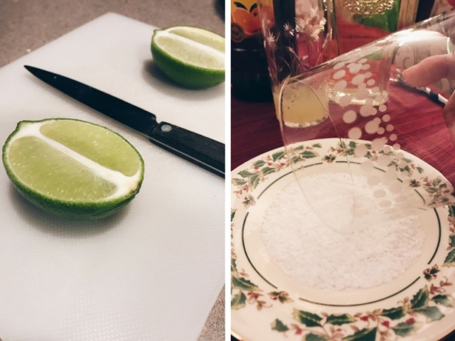 photo of lime wedges next to a glass dipped in flaky salt