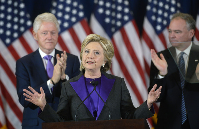 Photo by REX/Shutterstock (7429150m) Hillary Clinton Hillary Clinton US presidential election concession speech, New York, USA - 09 Nov 2016 Democratic Presidential candidate Hillary Clinton delivers her concession speech Wednesday, from the New Yorker Hotel's Grand Ballroom