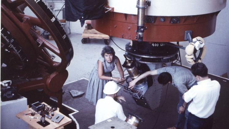 Astronomer Vera Rubin at the Lowell Observatory in 1965. (The Carnegie Institution via LA Times)