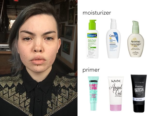 This is my face without any makeup. Before putting any makeup on, it's smart to use a moisturizer and a primer. I recommend a CeraVe brand moisturizer and the NYX Angel Veil primer, which you can buy at drugstores.