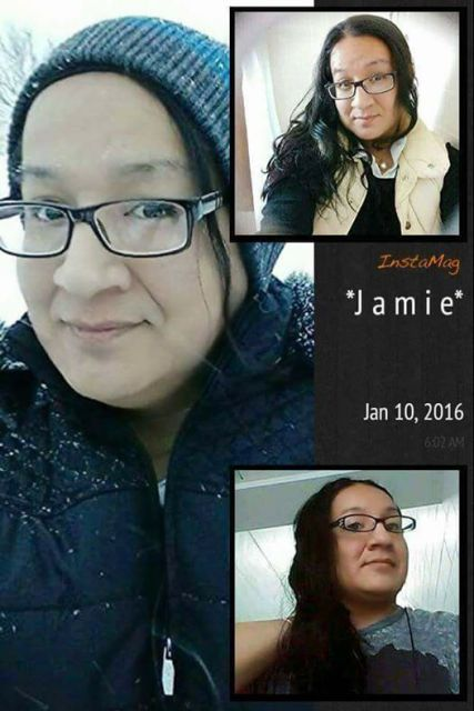 Three pictures of Jamie Lee Wounded Arrow, a Two-Spirit Lakota woman with dark hair and glasses.