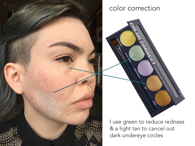 This image shows how I color correct my face. Color correction is a tool that lets you hide blemishes by using different colors. For example, if you have red acne scars, the color green will cancel out redness. So I put on a green color correction over my acne scars before I put on foundation, and this hides them better.