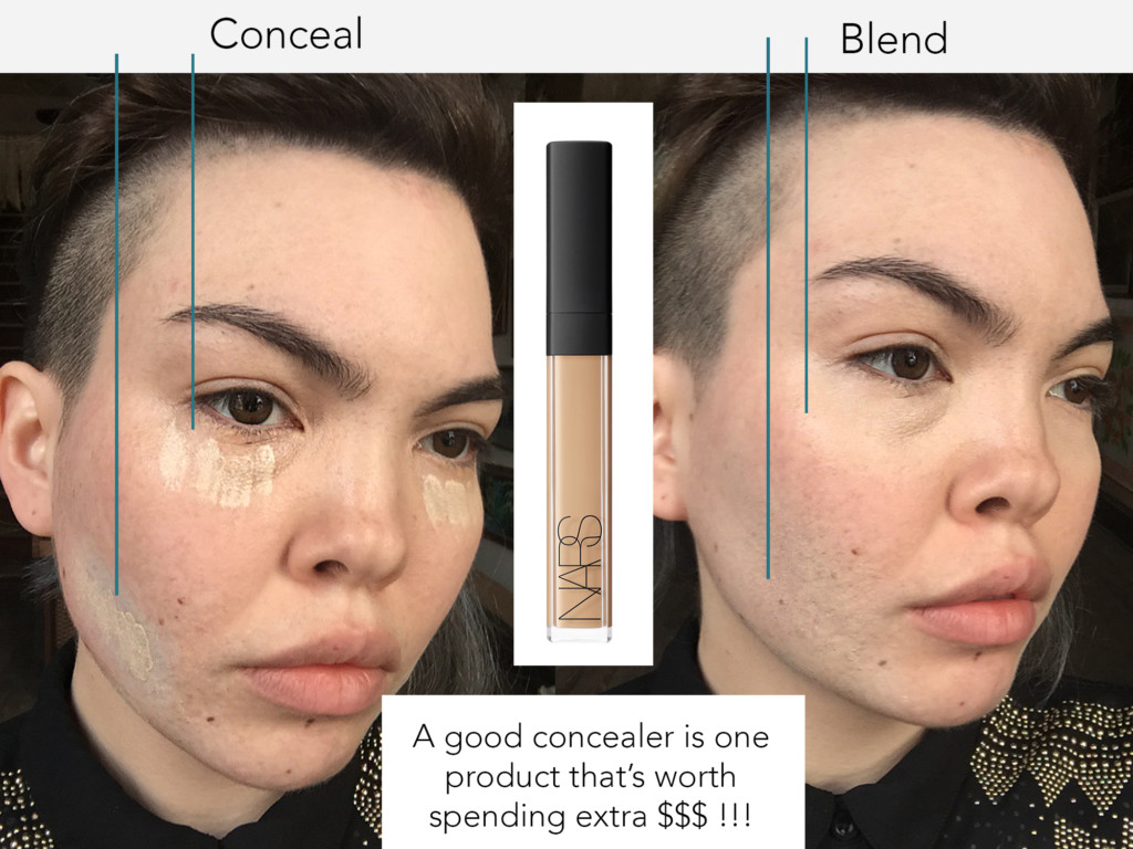 I use concealer before I put on foundation. Put concealer over whatever part of your face that you color corrected in the previous step, and under your eyes if you want to conceal any bags under your eyes.