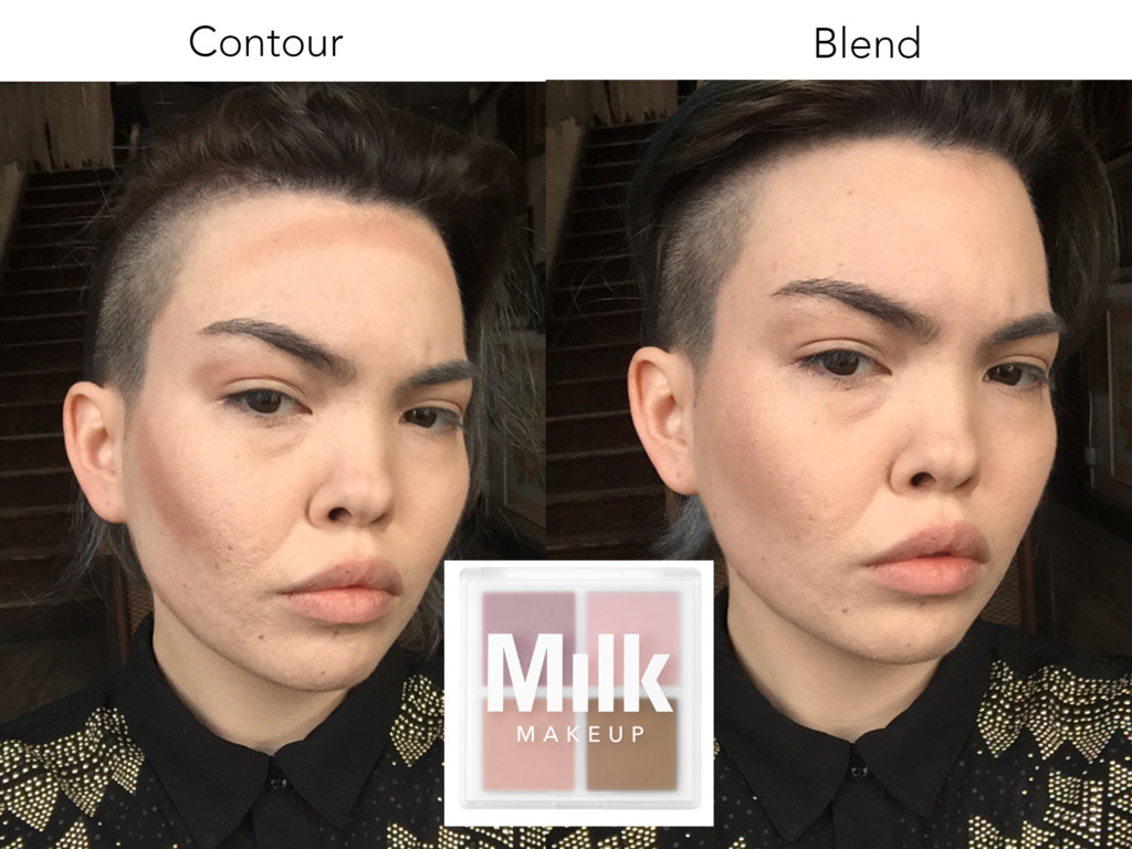 I'm contouring my face here. I like cream contours that you can just swipe onto your cheekbones with your fingers and then blend in. Milk Makeup's Matte Quad has a brown shade in it that works wonders as a subtle contour.