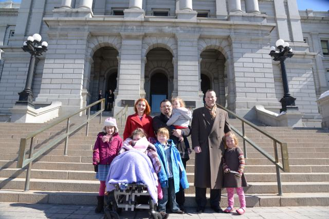 Coy Mathis and her family on the stairs of the courthouse.