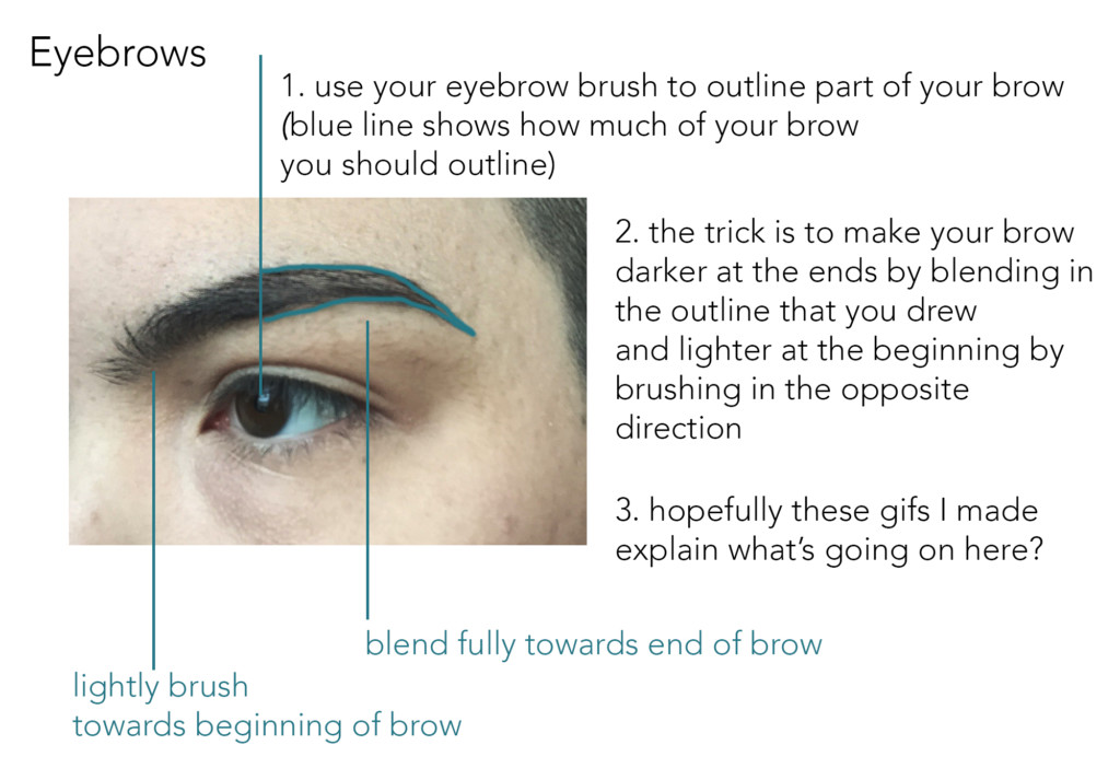 Step 1: Use your eyebrow brush to outline part of your brow, the half that sweeps toward your temple. Step 2: The trick is to make your brow darker at the ends by blending in the outline that you drew and lighter at the beginning by brushing in the opposite direction. Some .gifs follow that illustrate this motion.