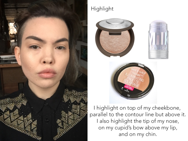 The last step is sweeping a highlighter on top of your cheekbones, above where you contoured.