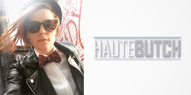Haute Butch – Woman wearing a leather jacket, plaid bowtie, button-up and hat