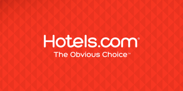 "hotels.com logo with the tagline ""the obvious choice"""