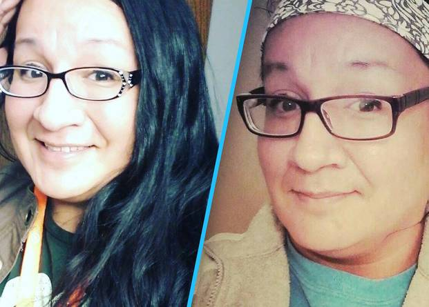 Two pictures of Jamie Lee Wounded Arrow, a Lakota Two-Spirit trans woman with dark hair and glasses.