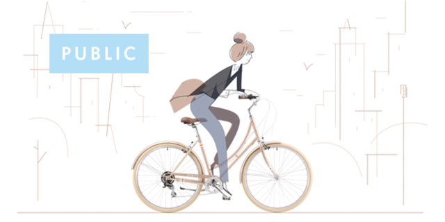PUBLIC Bikes logo and illustration by Roman Muradov, of a young woman with brown hair styled in a bun, wearing a black blazer and jeans and riding a gold bike
