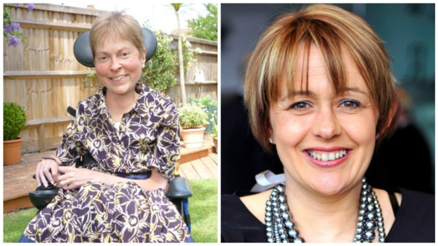 Two photos side by side. On the left, a white woman in her late fifties with short blonde hair and a purple and white printed dress sits in a power wheelchair. She is outside in a yard with a tall wooden fence in the background. On the right, a white woman in her late forties with red and blonde highlighted hair smiles into the camera. She is wearing silver necklaces and a black top.