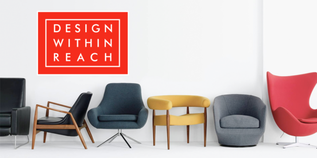 DesignWithinReach logo places over an image of mid-century modern chairs