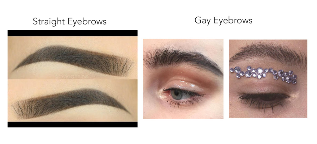 Precisely defined eyebrows with sharp edges on the left compared to more untamed brows on the right