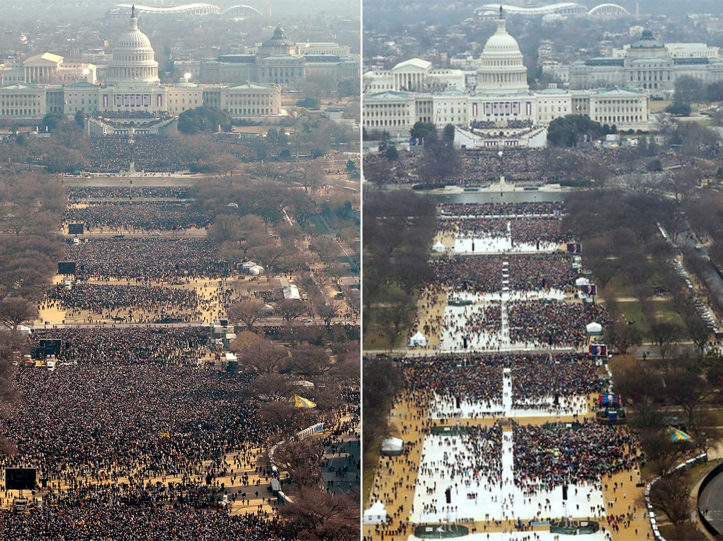 Comparison aerial photos. Donald Trump's 2017 inauguration, right, appeared to draw a smaller crowd than Barack Obama's 2009 inauguration, left. (Reuters via Washington Post)
