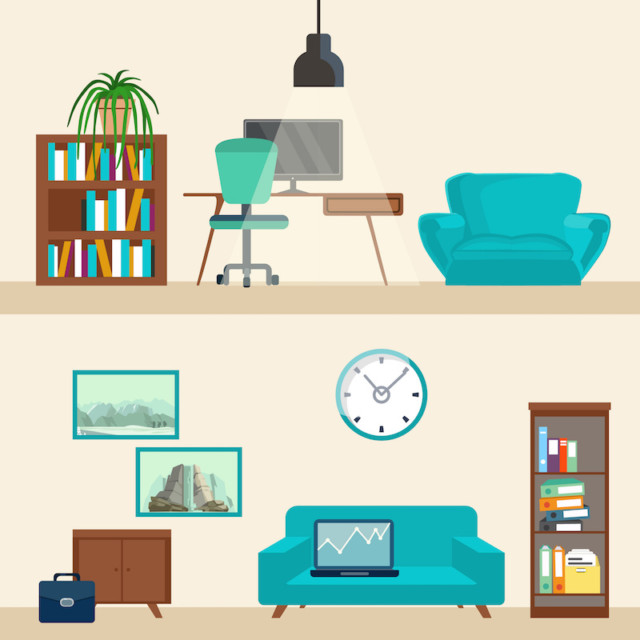 vector image of a bookshelf/desk/chair and below, like you're looking at a cutaway of a house, a cabinet/couch/clock/bookshelf with a retro-future feel