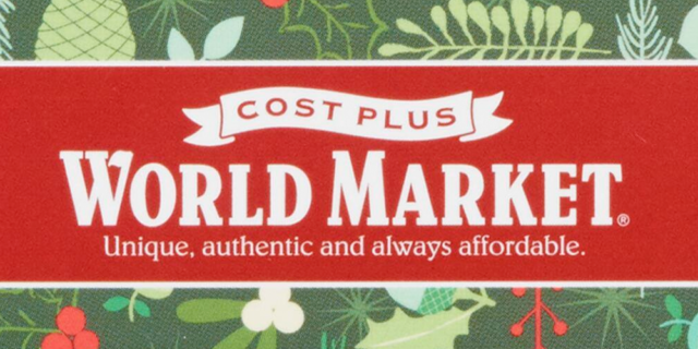 "Cost Plus World Market logo on a banner with the tagline ""unique, authentic and always affordable"" on top of a holiday pattern"