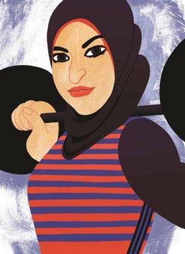 Amna Al Haddad, illustrated, lifting a barbell