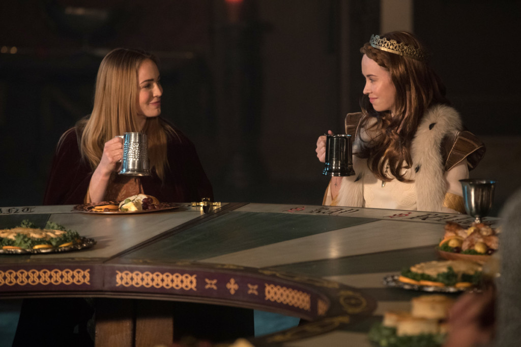 "DC's Legends of Tomorrow --""Camelot/3000""-- LGN212b_0357.jpg -- Pictured (L-R): Caity Lotz as Sara Lance/White Canary and Elyse Levesque as Guinevere -- Photo: Jack Rowand/The CW -- © 2017 The CW Network, LLC. All Rights Reserved"