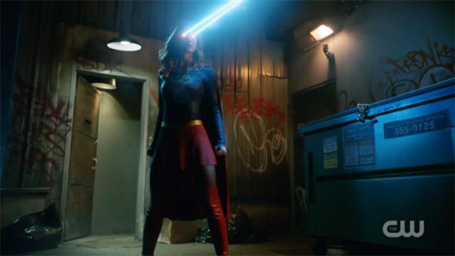 Supergirl uses her heat vision