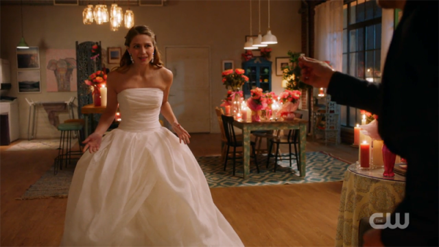 Kara in a wedding dress