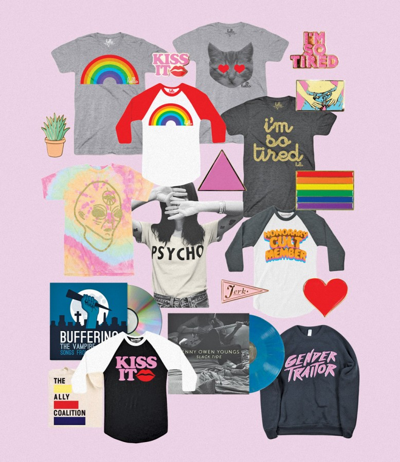 hello merch selection of tees and = enamel pins