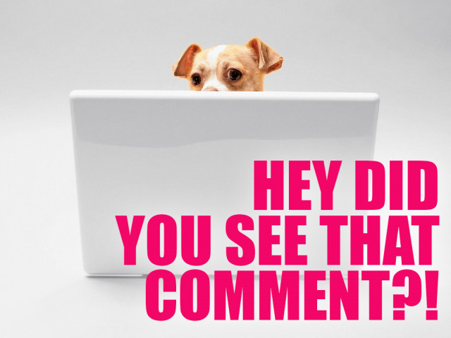 "A very small tan and white pup with floppy ears poking over the top of a white laptop with the text ""Hey, did you see that comment?!"""