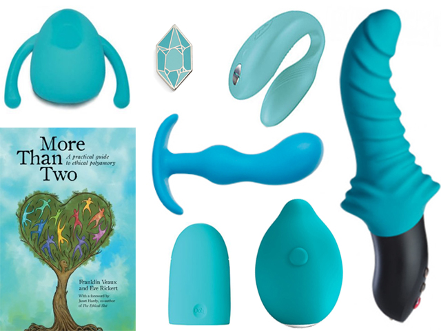 collage of the turquoise sex toys listed below