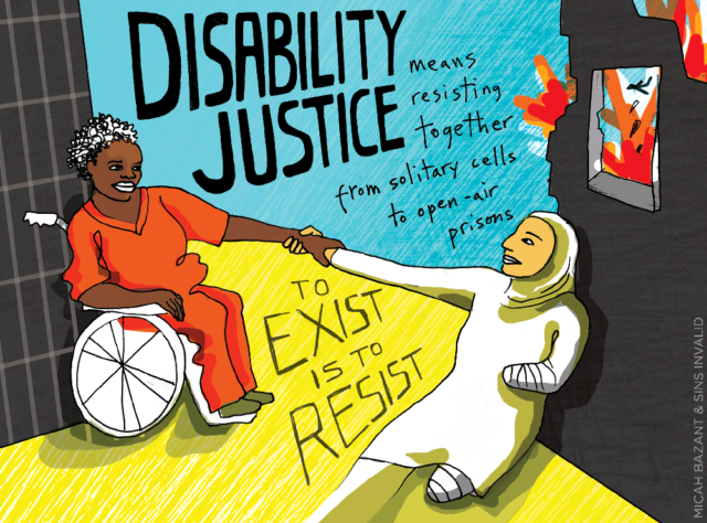 "An animated rendering of a black woman in an orange jumpsuit reaching for the hand of a Middle Eastern woman in hijab and with her left leg and arm amputated. The text above them says ""Disability justice means resisting togther from solitary cells to open-air prisons,"" and the text below them says ""To exist is to resist."""