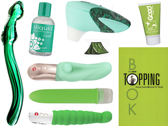 collage of the green sex toys listed below
