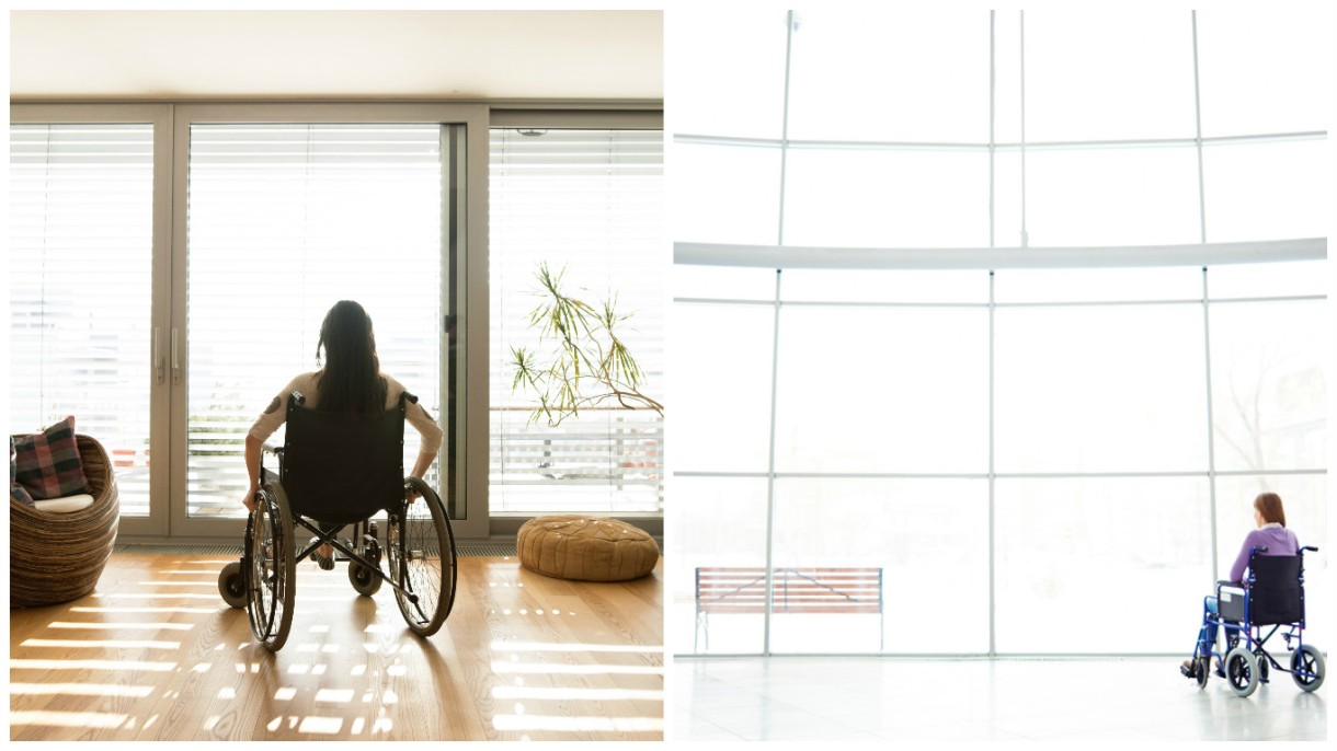 Two photos side by side. On the left, a young woman with long brown hair sits in a manual wheelchair looking out a sliding glass window into the sunshine. On the right, a different woman in a manual chair and wearing a purple sweater sits looking through a very large window that has white light streaming through.