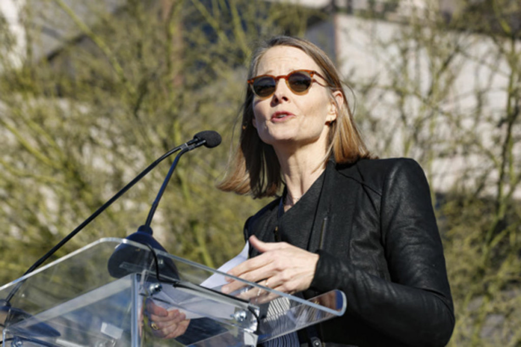 Jodie Foster speaks at an anti-Trump rally in Beverly Hills.