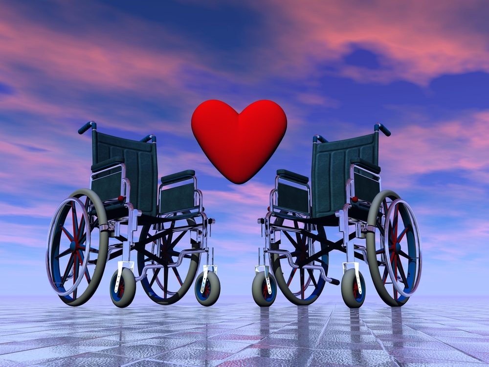 Animated rendering of two black and silver manual wheelchairs, with a heart in between them to symbolize love.