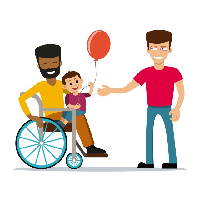 Cartoon rendering of a gay male couple with a baby. One man is black and the other is white; the black man is in a manual wheelchair and has the baby on his lap. The baby is holding a balloon. The white man has brown hair and glasses and is extending one hand toward the baby.