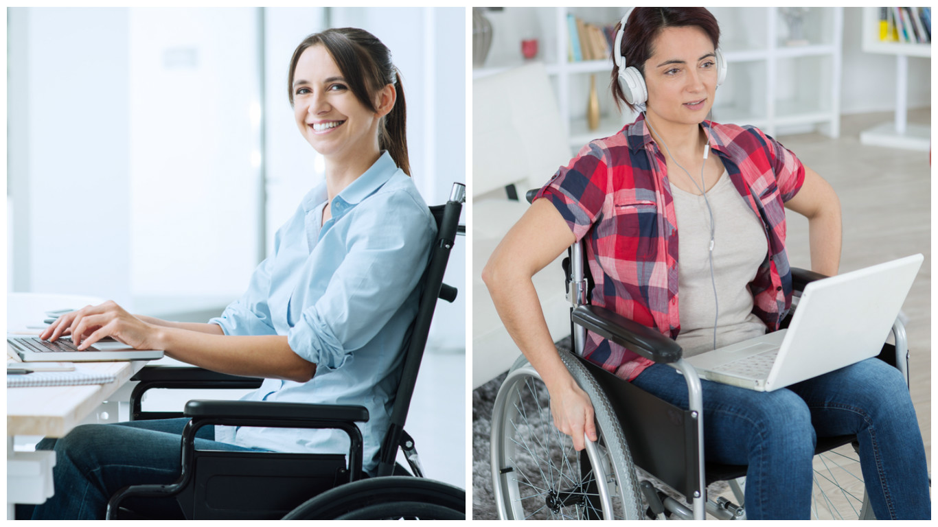 Two photos side by side. On the left, a white woman with dark brown hair in a light blue shirt and sitting in a black manual wheelchair smiles into the camera while typing on a laptop computer. On the right, a different white woman in blue jeans and a short sleeved red plaid shirt over a gray top holds the wheels of her manual wheelchair. There is a laptop on her lap and she has white headphones over her ears.