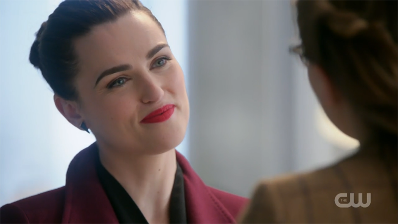 Lena smiles flirtatiously at Kara