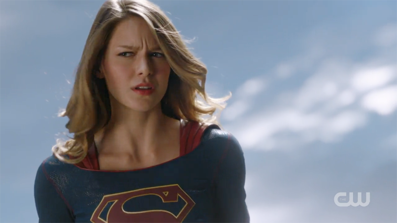 Supergirl looks perplexed