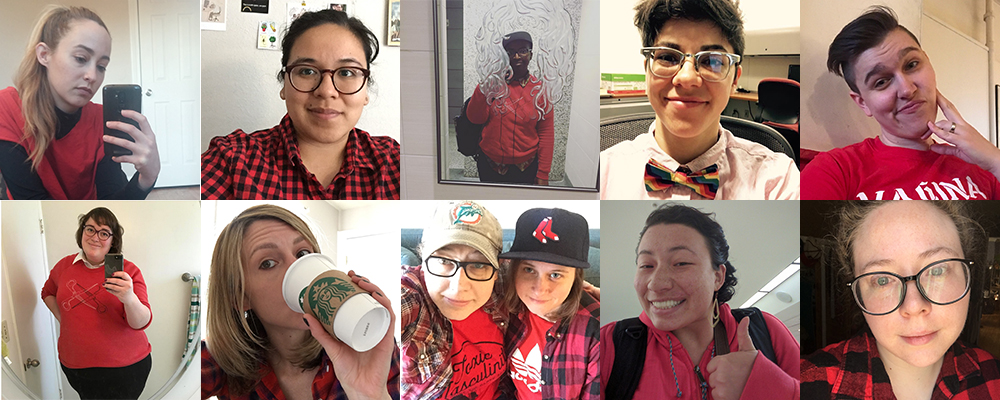 A collage of the ten staff members (and one partner of a staff member) wearing red in solidarity with the Day Without A Woman.