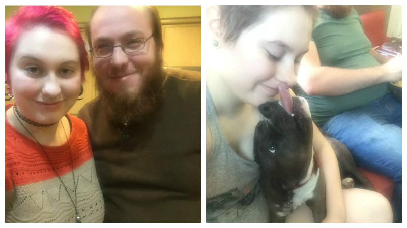 Two photos side by side. On the left, Kaety (a white person with pink hair in an orange and gray sweater) stands next to their fiance Matt (a white man with brown hair and a beard in a dark sweater). On the right, Kaety smiles as Denim, a black dog with white paws, lies in their lap and licks their face.
