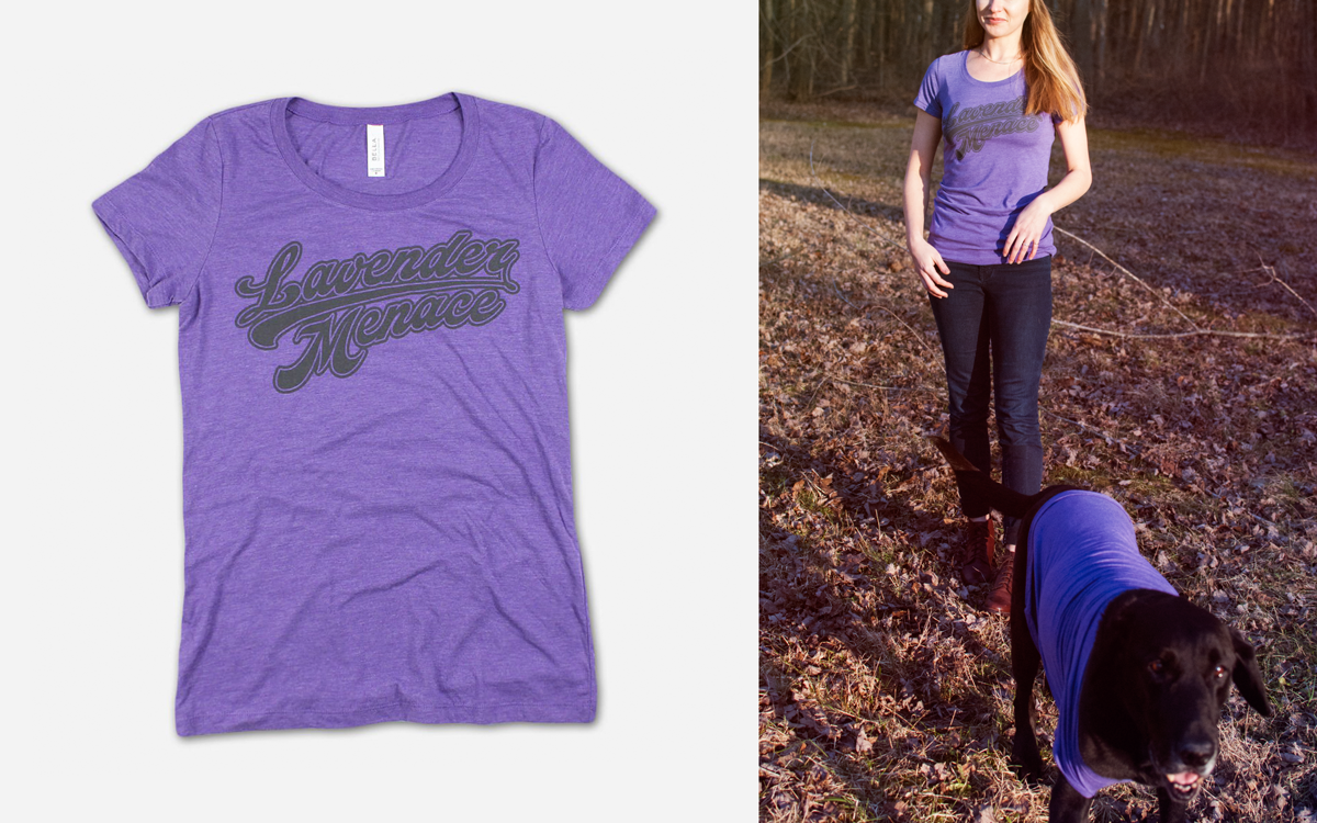 Cooper is wearing an XL the women's style Lavender Menace tee.