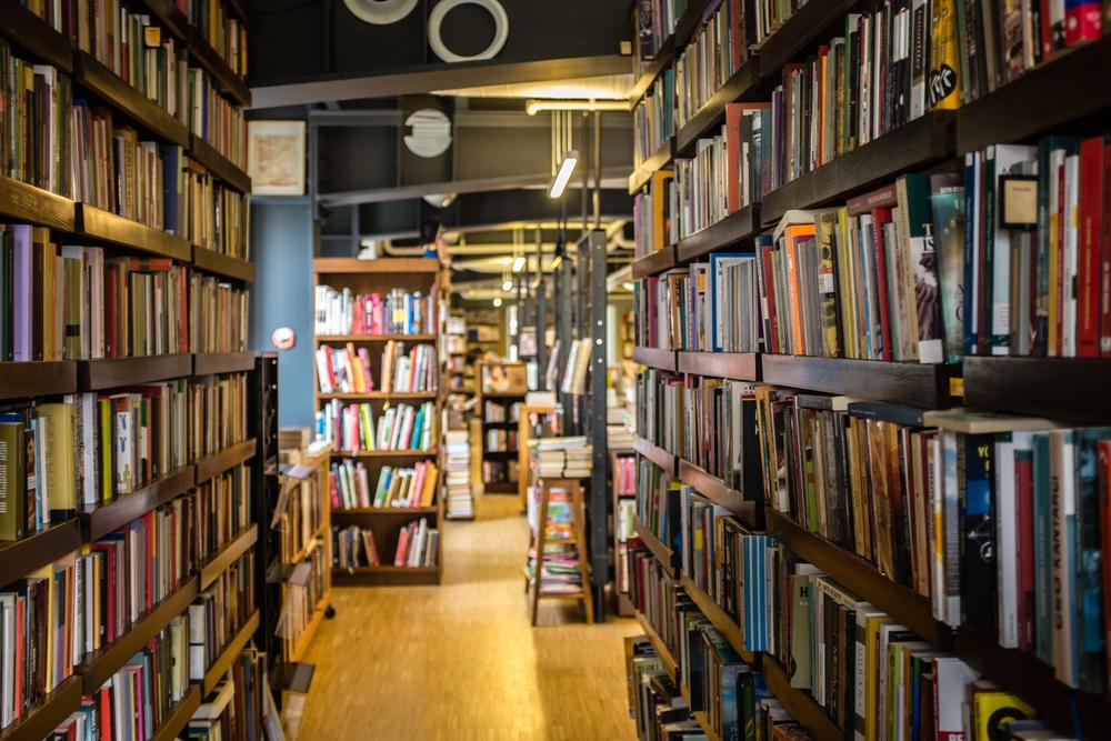 dark library stock photo